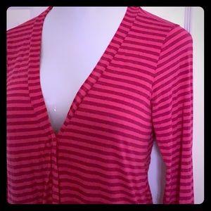 Agnes & Dora pink stripe Favorite cardigan S